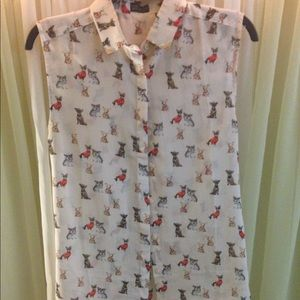 Top shop dog blouse. Worn by Taylor Swift!